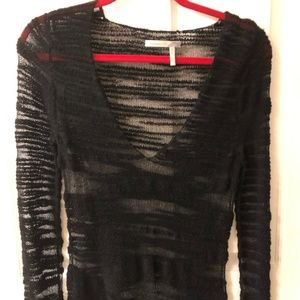 Black Sheer V-Neck Sweater, Size Petite Small